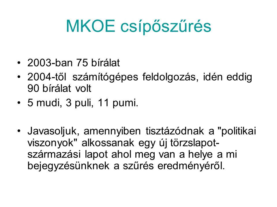 MKOE csípőszűrés 2003-ban 75 bírálat