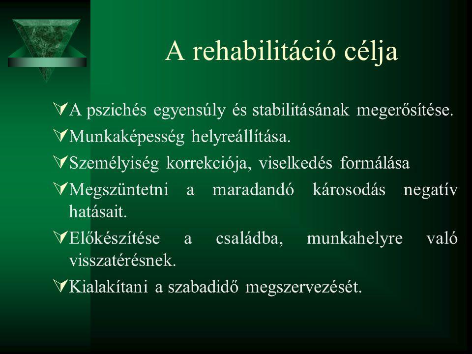 A rehabilitáció célja A pszichés egyensúly és stabilitásának megerősítése. Munkaképesség helyreállítása.