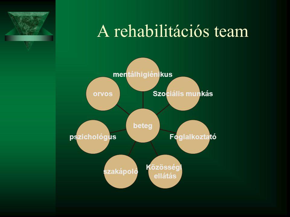 A rehabilitációs team mentálhigiénikus Szociális munkás Foglalkoztató