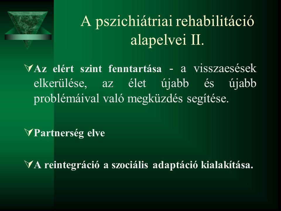 A pszichiátriai rehabilitáció alapelvei II.
