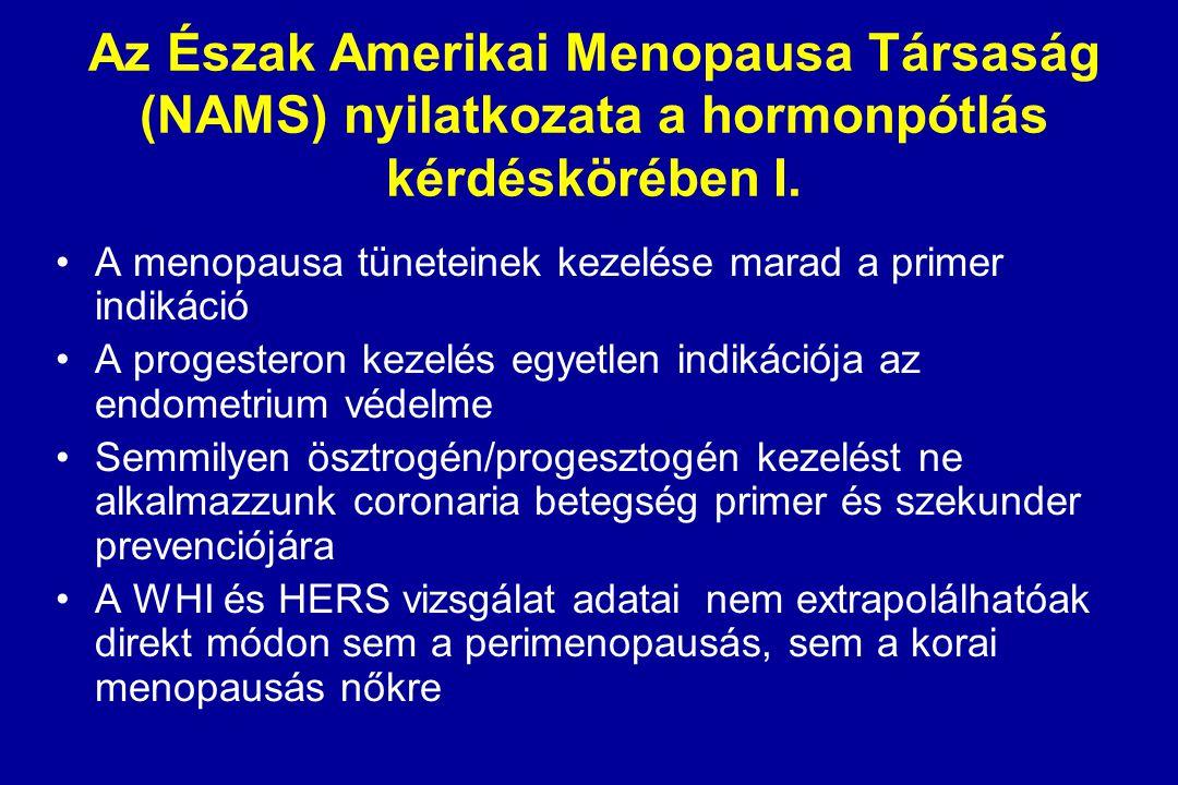 Az Észak Amerikai Menopausa Társaság (NAMS) nyilatkozata a hormonpótlás kérdéskörében I.