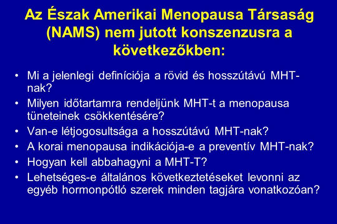 Az Észak Amerikai Menopausa Társaság (NAMS) nem jutott konszenzusra a következőkben: