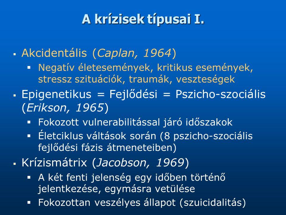 A krízisek típusai I. Akcidentális (Caplan, 1964)
