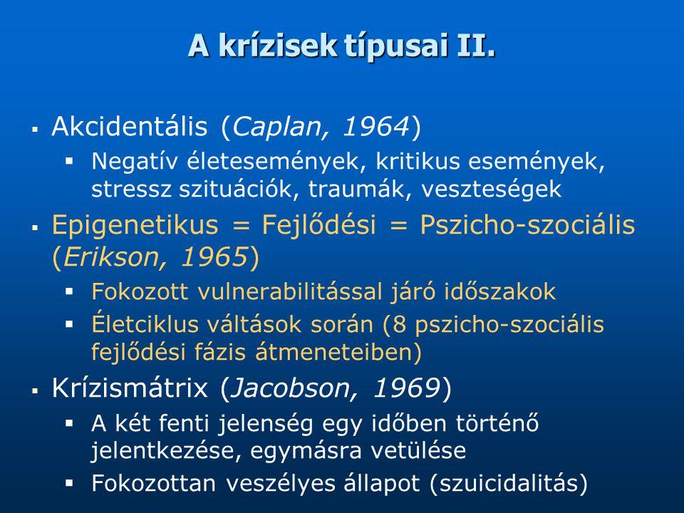 A krízisek típusai II. Akcidentális (Caplan, 1964)