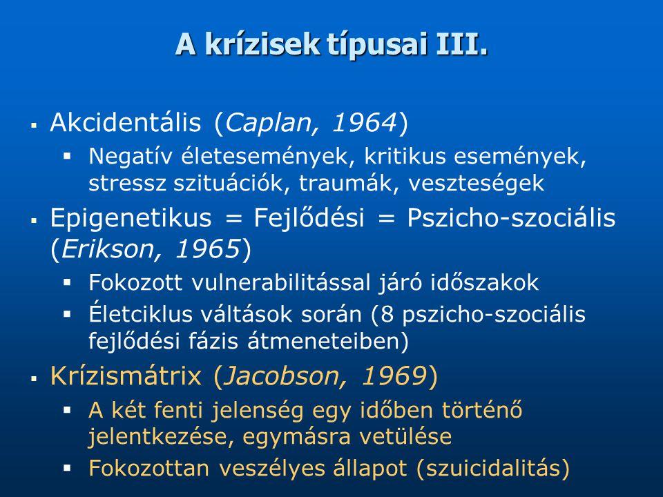 A krízisek típusai III. Akcidentális (Caplan, 1964)