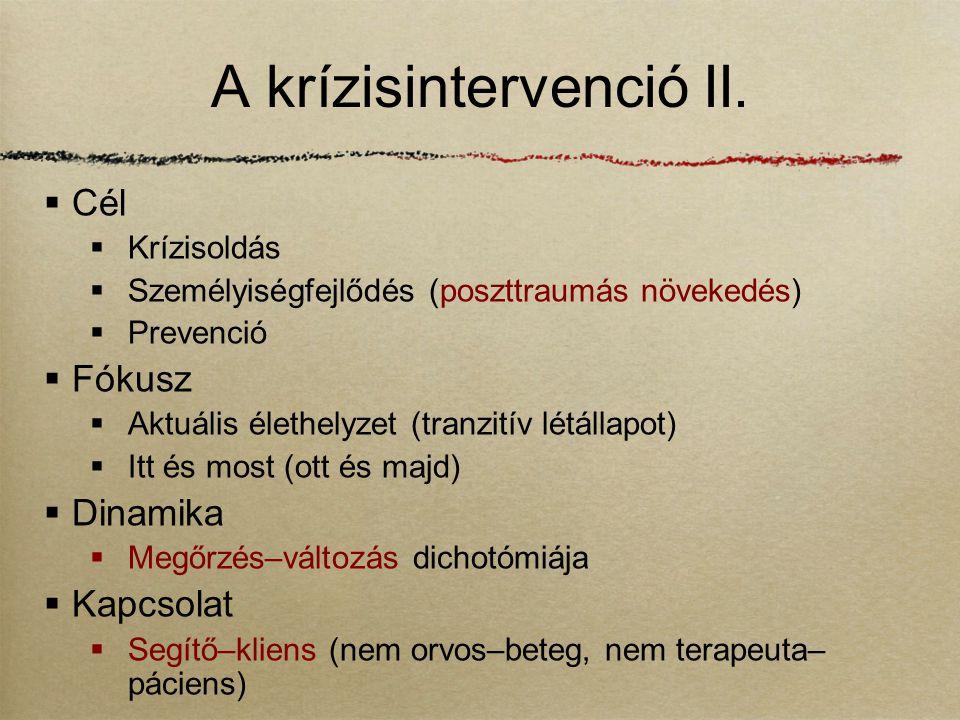 A krízisintervenció II.