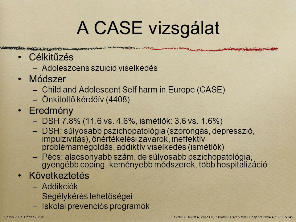A CASE vizsgálat Célkitűzés Módszer Eredmény Következtetés