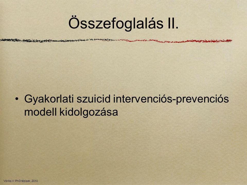 Összefoglalás II. Gyakorlati szuicid intervenciós-prevenciós modell kidolgozása.