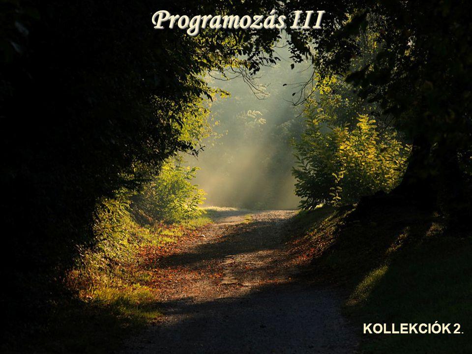 Programozás III KOLLEKCIÓK 2.