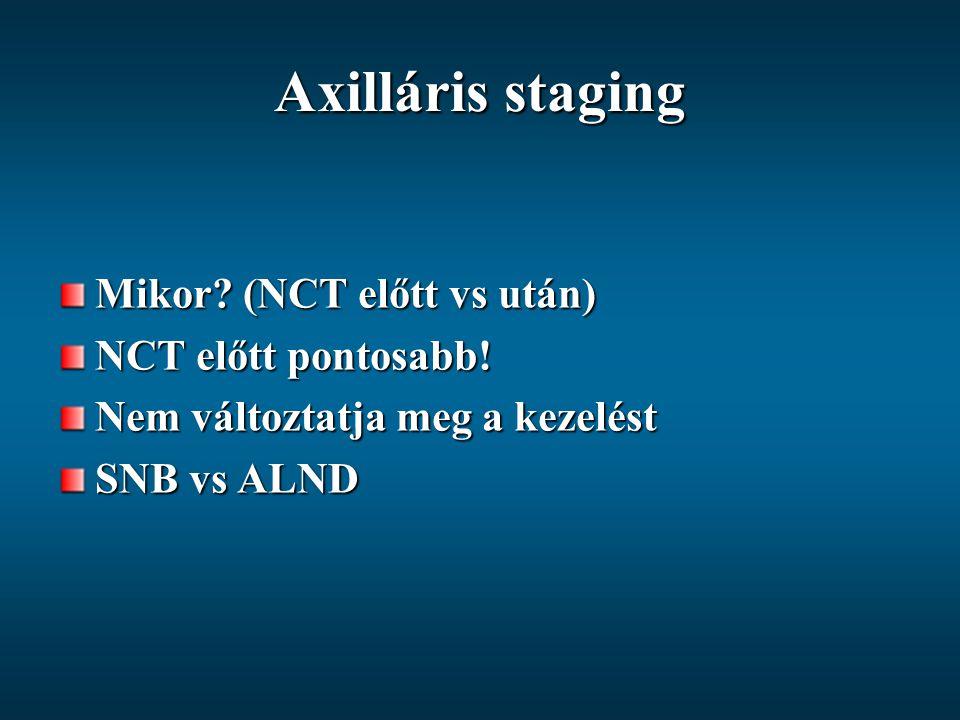 Axilláris staging Mikor (NCT előtt vs után) NCT előtt pontosabb!