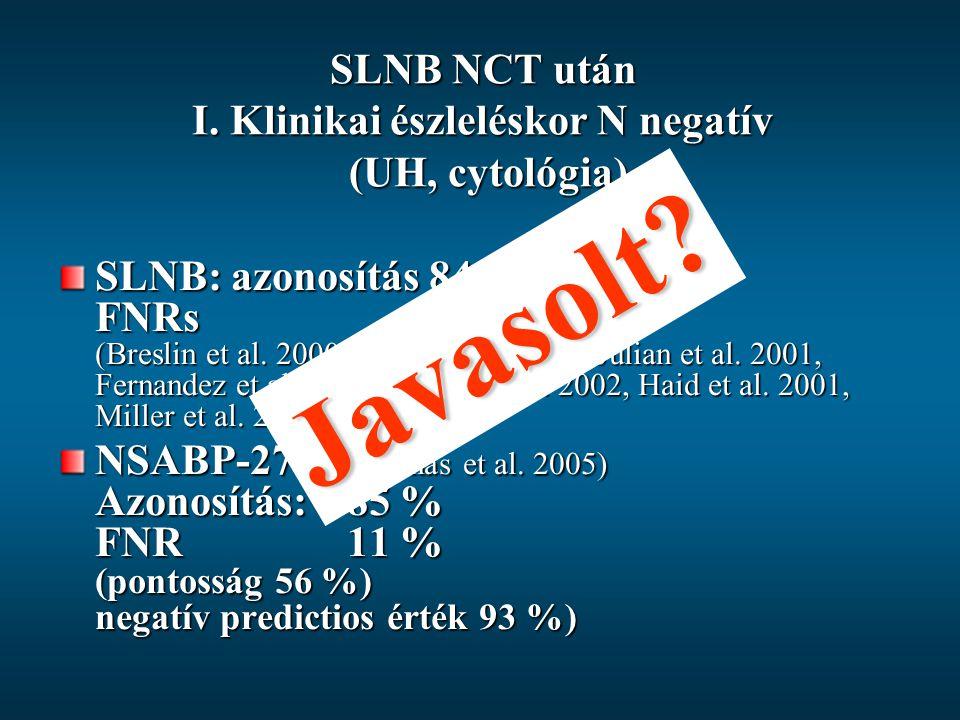 SLNB NCT után I. Klinikai észleléskor N negatív (UH, cytológia)