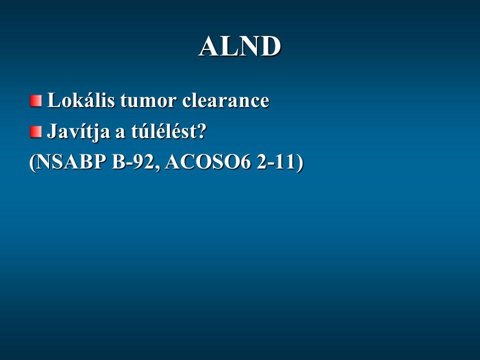 ALND Lokális tumor clearance Javítja a túlélést