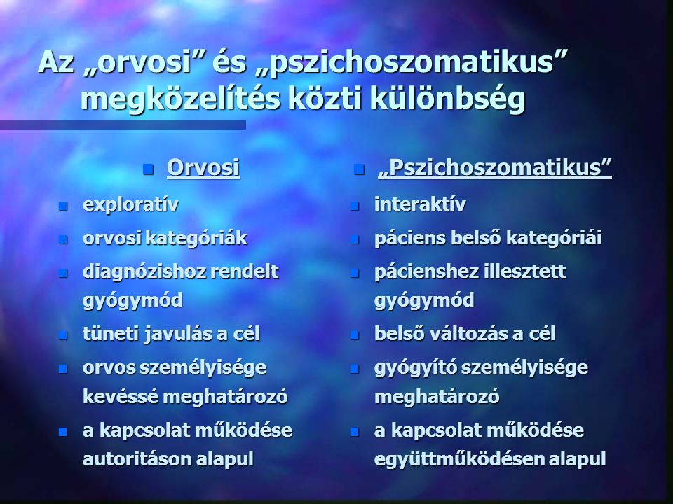 """Az """"orvosi és """"pszichoszomatikus megközelítés közti különbség"""
