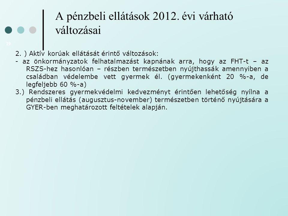 A pénzbeli ellátások 2012. évi várható változásai