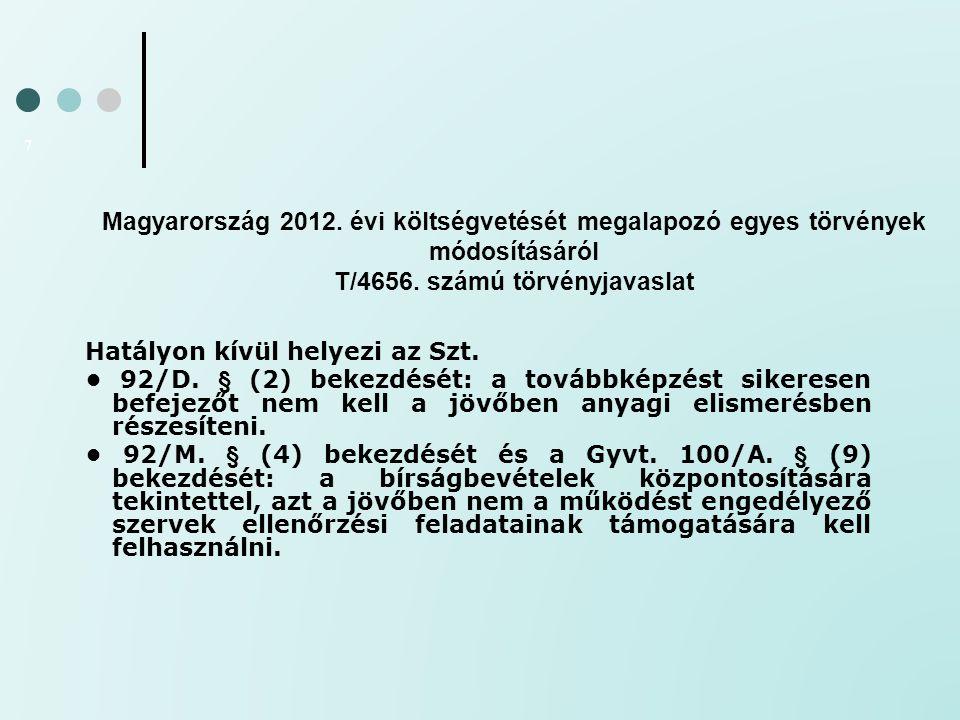 Magyarország 2012. évi költségvetését megalapozó egyes törvények módosításáról T/4656. számú törvényjavaslat