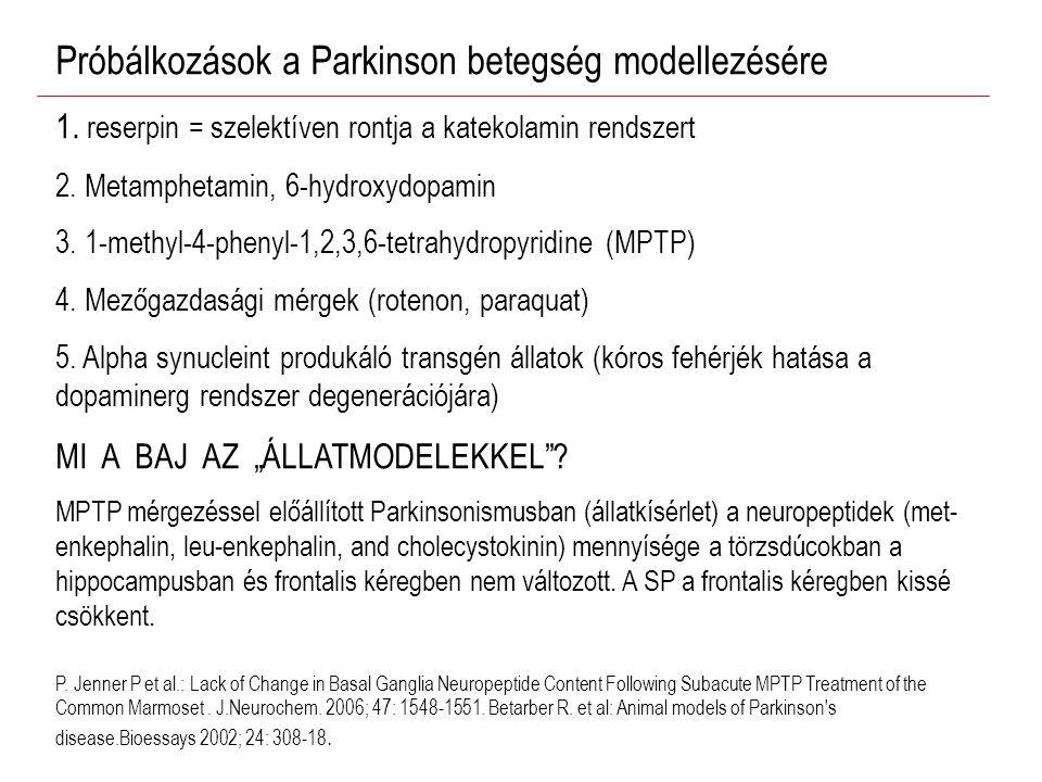 Próbálkozások a Parkinson betegség modellezésére