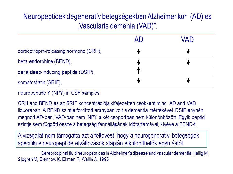 """Neuropeptidek degeneratív betegségekben Alzheimer kór (AD) és """"Vascularis demenia (VAD) ."""