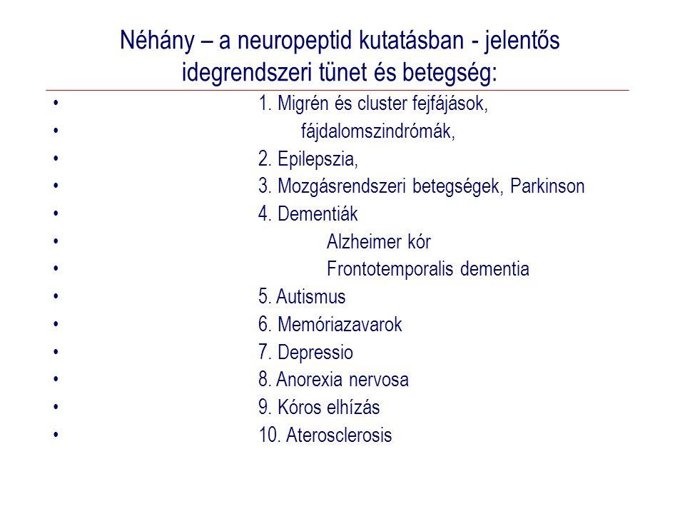 Néhány – a neuropeptid kutatásban - jelentős idegrendszeri tünet és betegség: