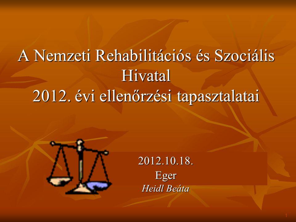 A Nemzeti Rehabilitációs és Szociális Hivatal 2012