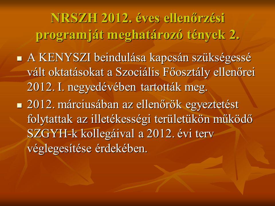 NRSZH 2012. éves ellenőrzési programját meghatározó tények 2.