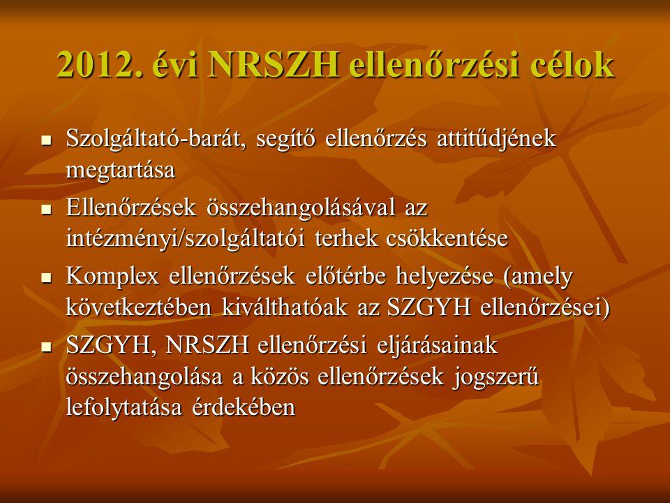 2012. évi NRSZH ellenőrzési célok