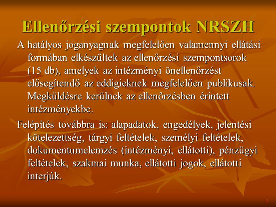 Ellenőrzési szempontok NRSZH