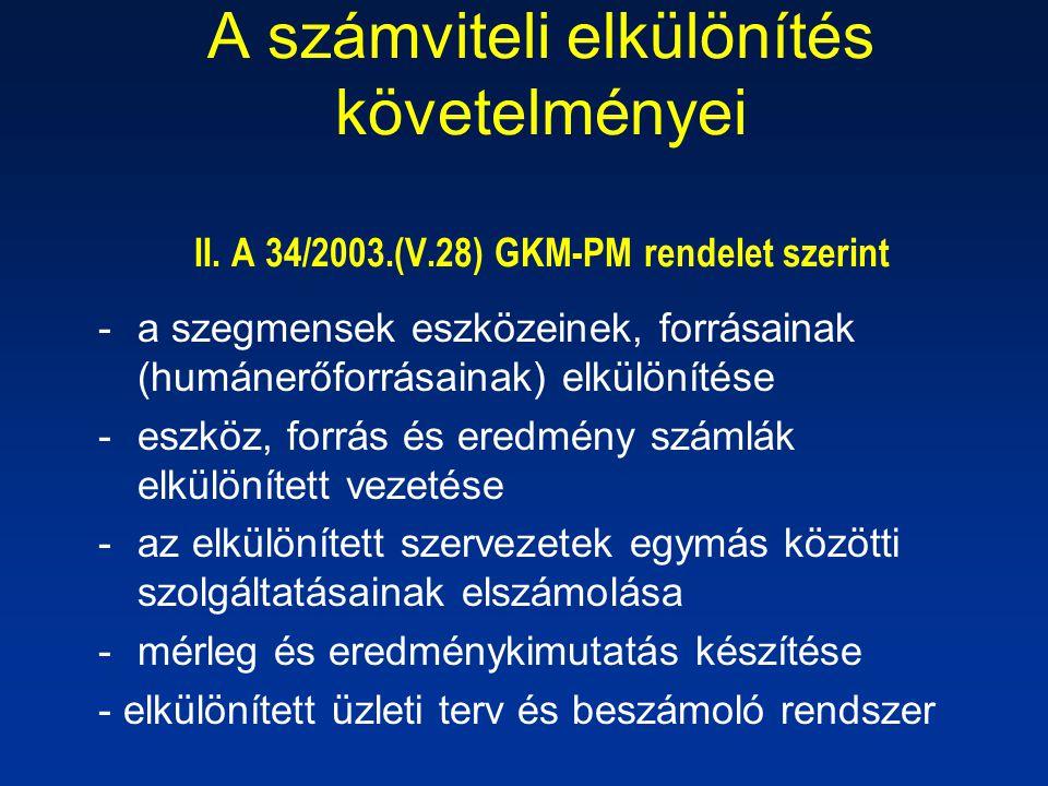 A számviteli elkülönítés követelményei II. A 34/2003. (V