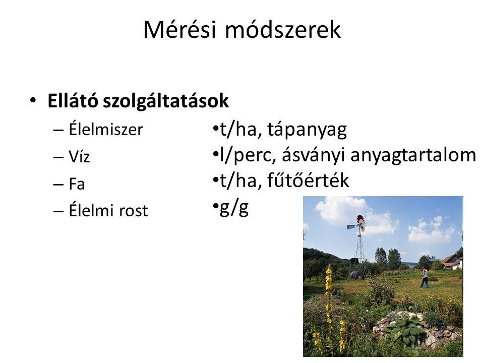 Mérési módszerek Ellátó szolgáltatások t/ha, tápanyag