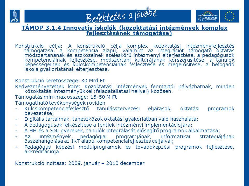 TÁMOP 3.1.4 Innovatív iskolák (közoktatási intézmények komplex fejlesztésének támogatása)