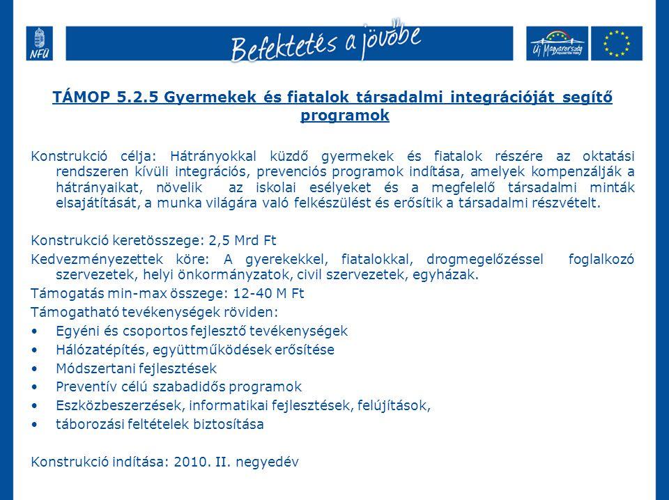 TÁMOP 5.2.5 Gyermekek és fiatalok társadalmi integrációját segítő programok