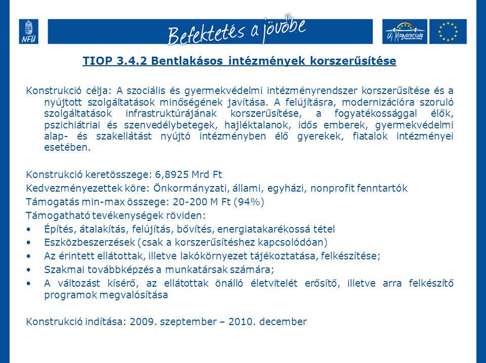 TIOP 3.4.2 Bentlakásos intézmények korszerűsítése