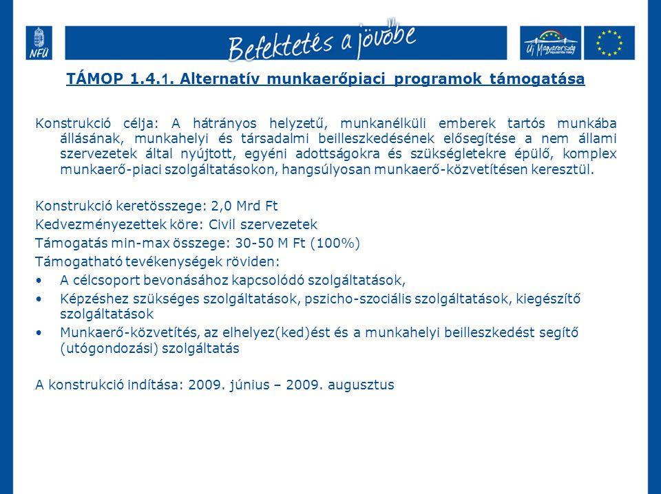 TÁMOP 1.4.1. Alternatív munkaerőpiaci programok támogatása