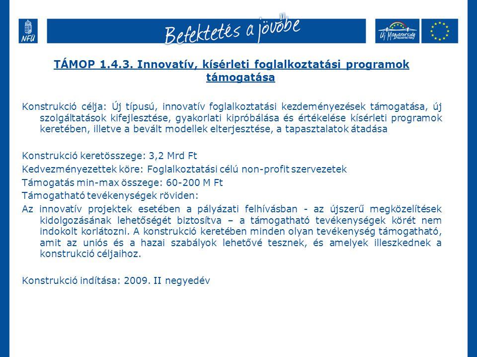 TÁMOP 1.4.3. Innovatív, kísérleti foglalkoztatási programok támogatása
