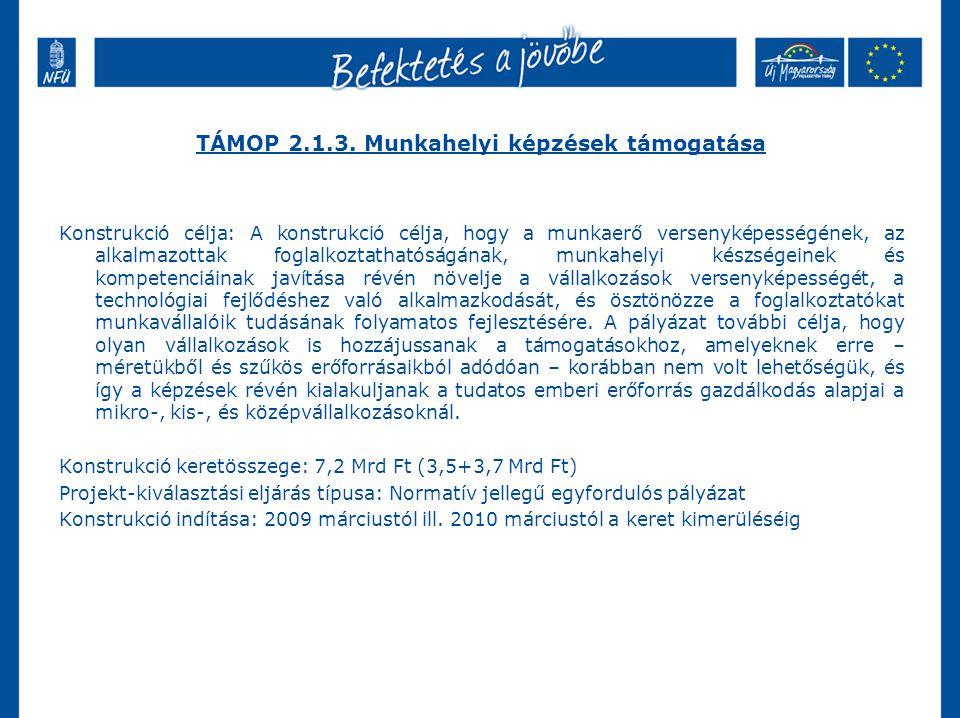 TÁMOP 2.1.3. Munkahelyi képzések támogatása