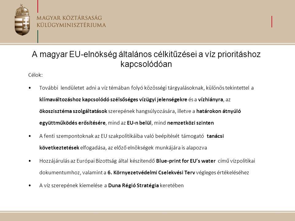 A magyar EU-elnökség általános célkitűzései a víz prioritáshoz kapcsolódóan