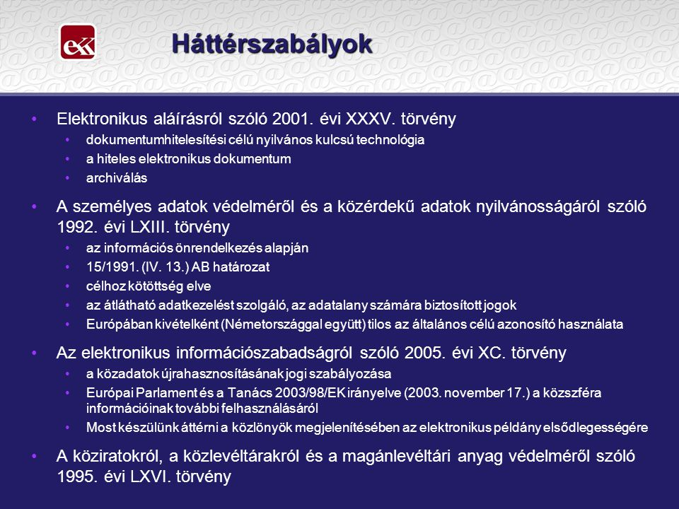 Háttérszabályok Elektronikus aláírásról szóló 2001. évi XXXV. törvény