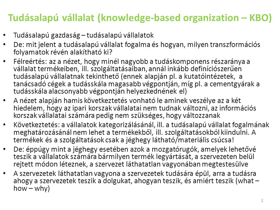 Tudásalapú vállalat (knowledge-based organization – KBO)