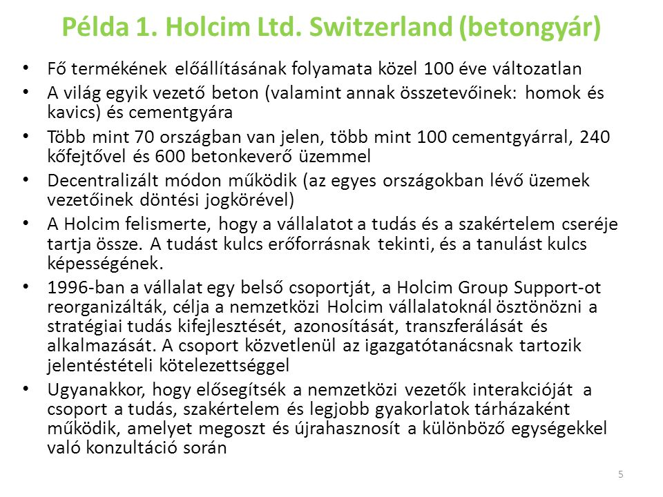 Példa 1. Holcim Ltd. Switzerland (betongyár)