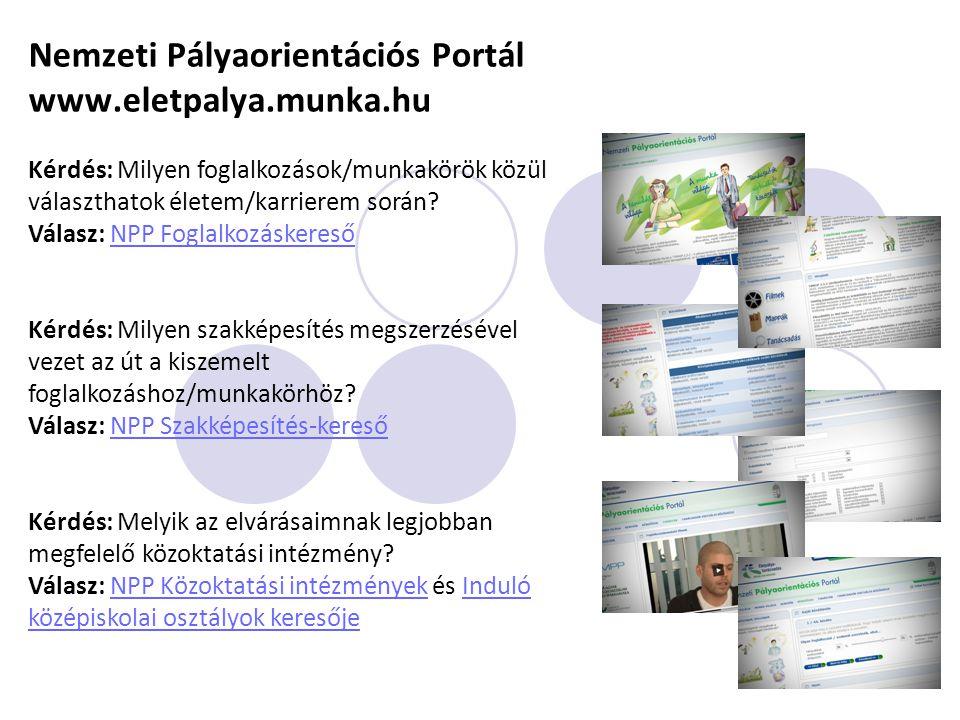 Nemzeti Pályaorientációs Portál www.eletpalya.munka.hu
