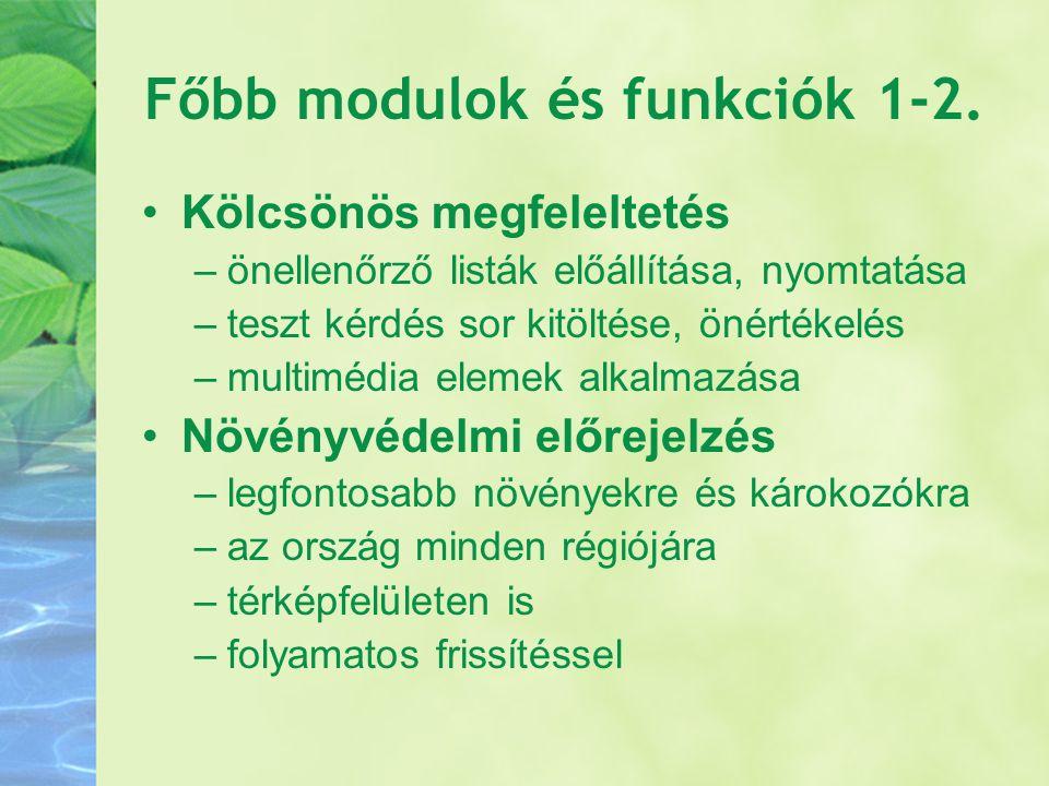 Főbb modulok és funkciók 1-2.