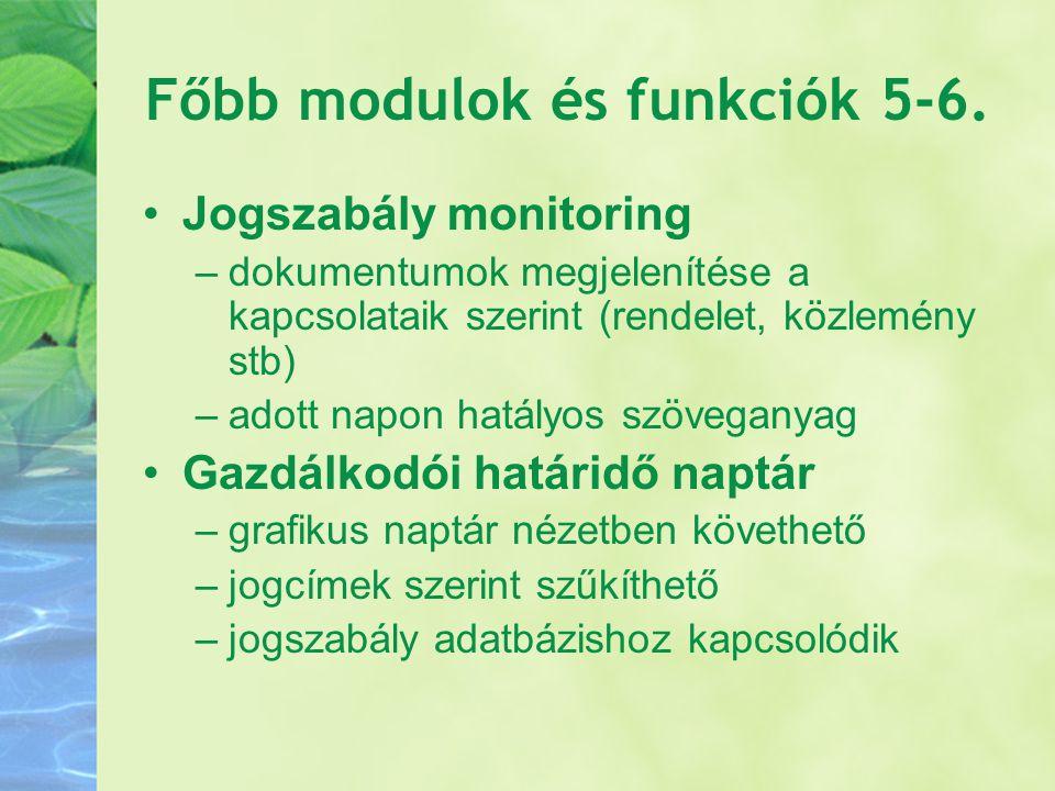 Főbb modulok és funkciók 5-6.