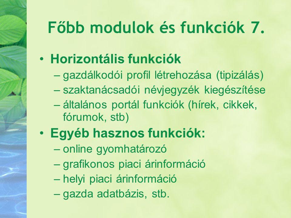 Főbb modulok és funkciók 7.