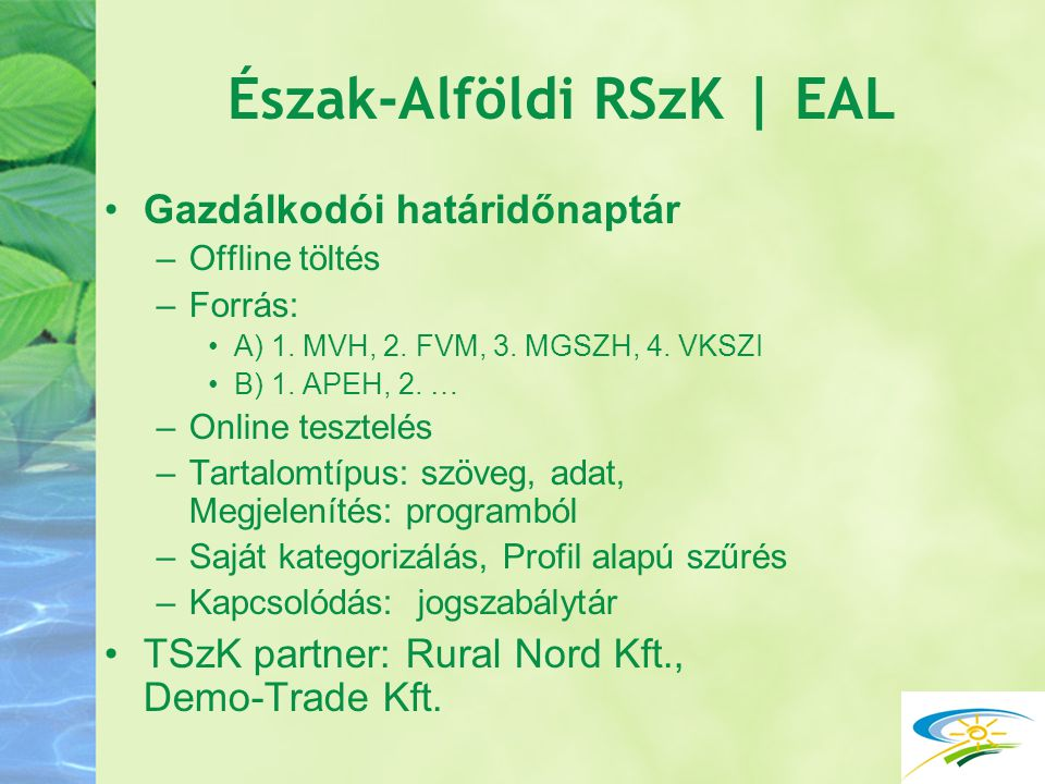 Észak-Alföldi RSzK | EAL