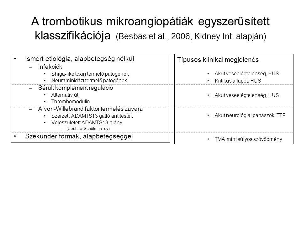 A trombotikus mikroangiopátiák egyszerűsített klasszifikációja (Besbas et al., 2006, Kidney Int. alapján)