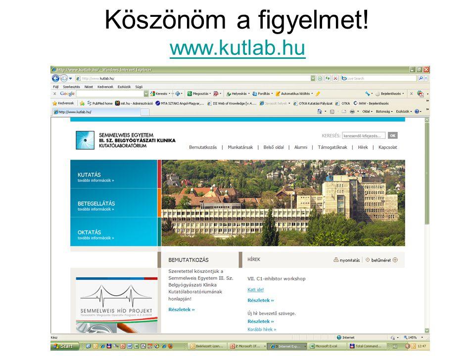 Köszönöm a figyelmet! www.kutlab.hu