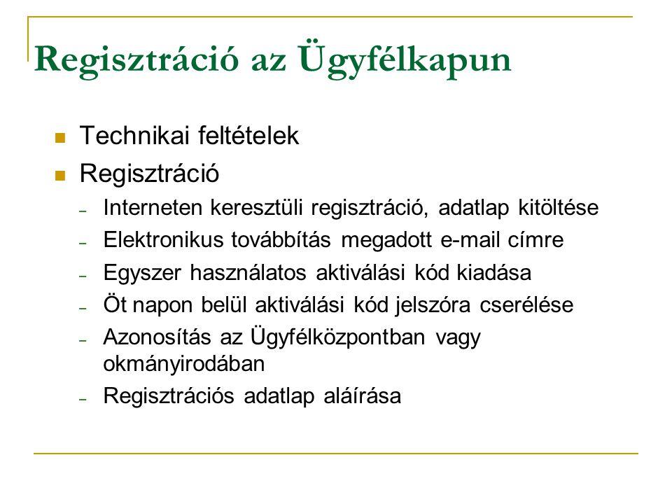Regisztráció az Ügyfélkapun