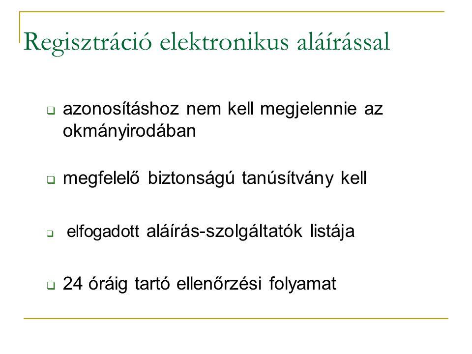 Regisztráció elektronikus aláírással