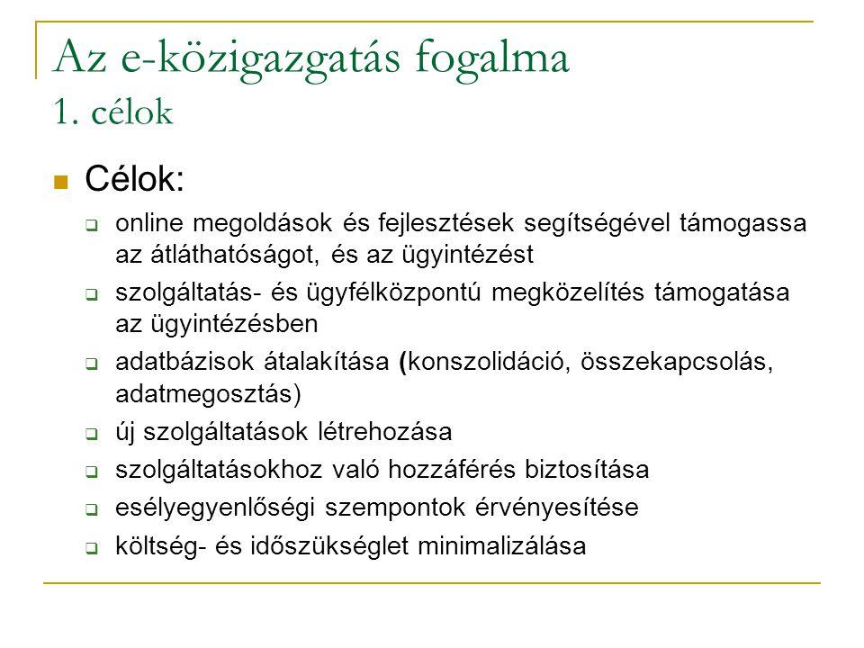 Az e-közigazgatás fogalma 1. célok