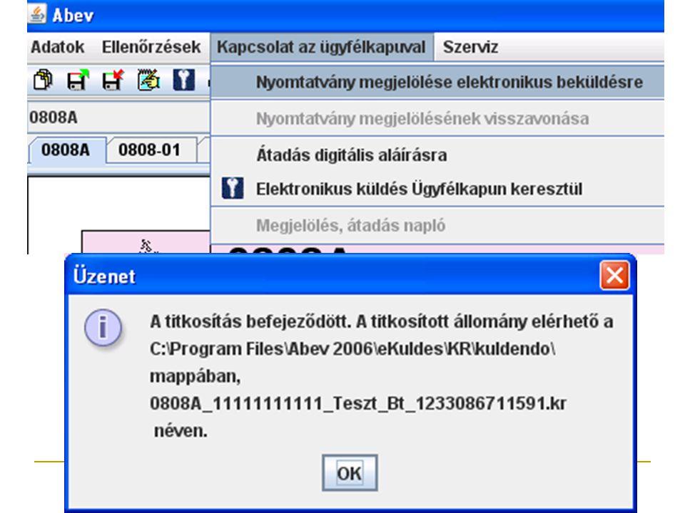 """Ebben a munkafázisban (Kapcsolat az ügyfélkapuval/Nyomtatvány megjelölése elektronikus beküldésre) történik meg a nyomtatványok adatait tartalmazó XML fájl előállítása és ellenőrzése, majd tömörítése és titkosítása. A titkosított állomány a telepítéskor beállított postázó könyvtárba (alapértelmezetten: """"…\KR\Kuldendo ) kerül."""