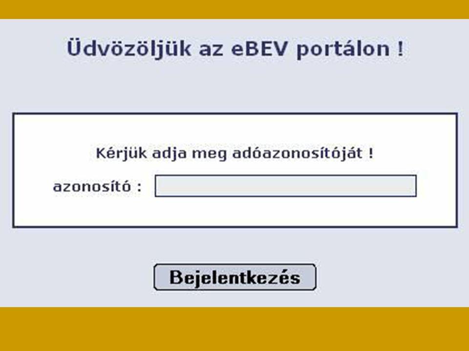 Első lépésként be kell jelentkezni az eBev portálra